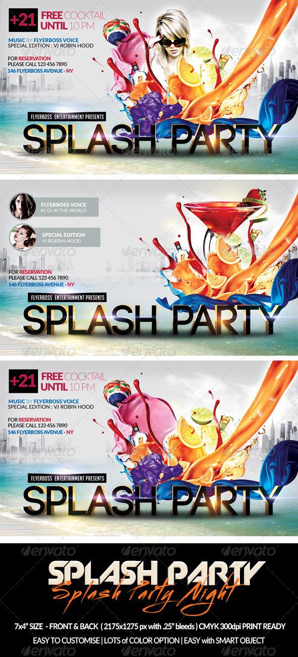 GraphicRiver Splash Party Flyer-Front & Back 7636951