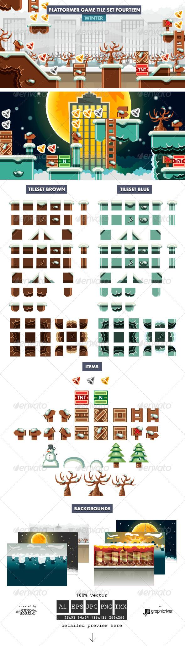 GraphicRiver Platformer Game Tile Set Fourteen 7637363