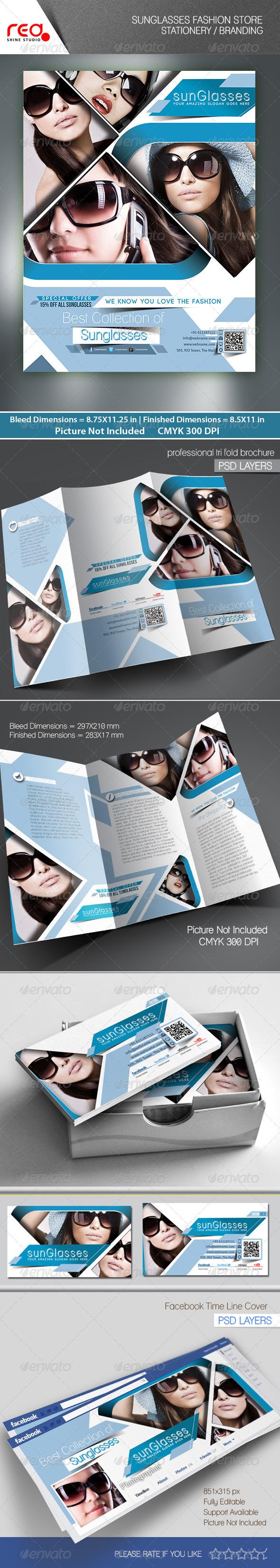 SunGlasses Fashion Store Branding Bundle - Corporate Brochures