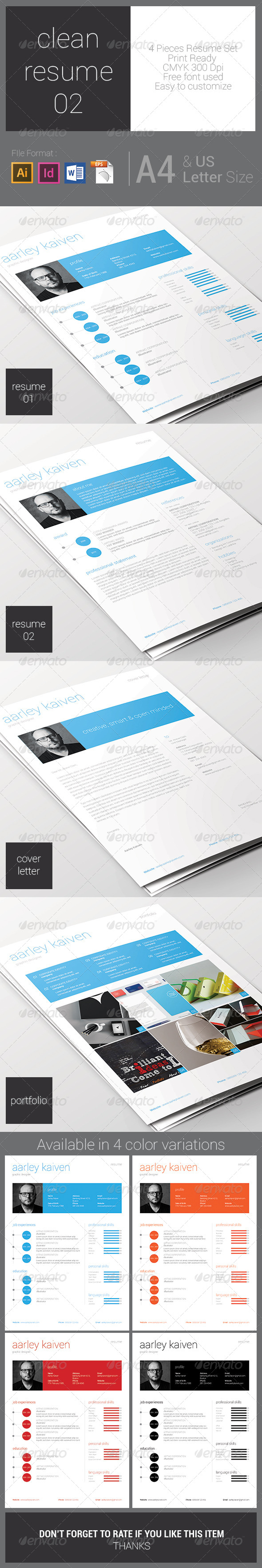 GraphicRiver Clean Resume Set 02 7618968