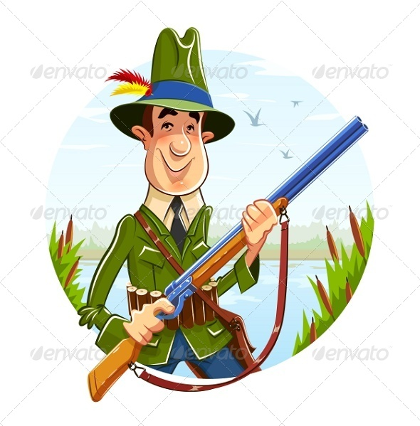 GraphicRiver Hunter Man with Rifle on River Background 7637682