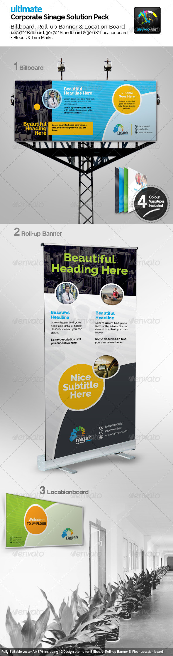 GraphicRiver Raiqah Corporate Signage Pack 7638841