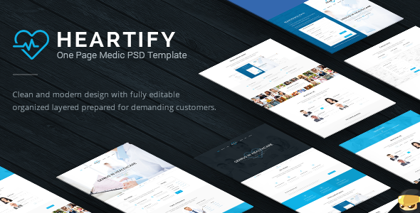Heartify – modern and clean PSD template perfect for your clinic or business sites. Template was built on the 12 column grid (1170px) and grouped so you c