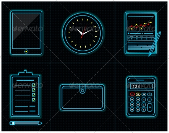 GraphicRiver Office and Business Work Neon Icons 7639554