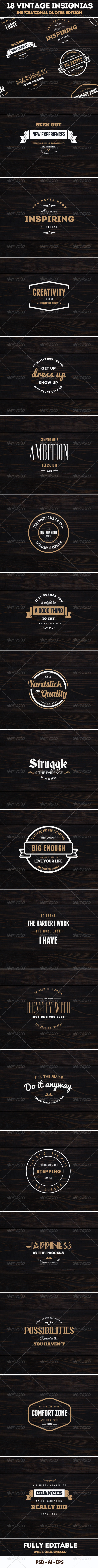GraphicRiver 18 Vintage Badges Insignias Logos Quotes 7633933