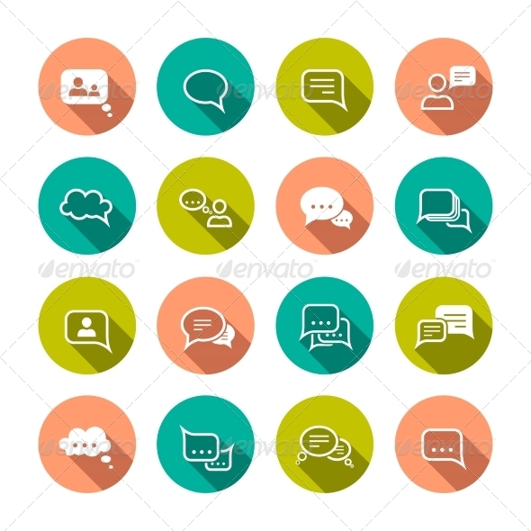 GraphicRiver Chat Bubbles Icons 7640090