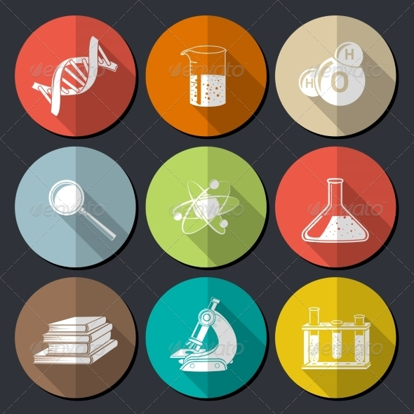 GraphicRiver Science Symbols Flat 7640098