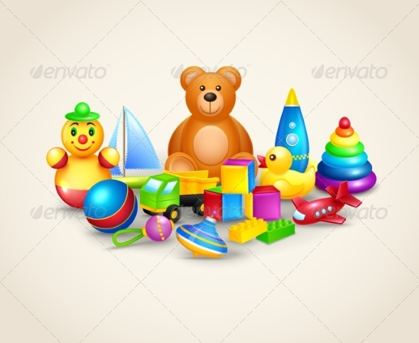 GraphicRiver Kids Toys Composition 7640100