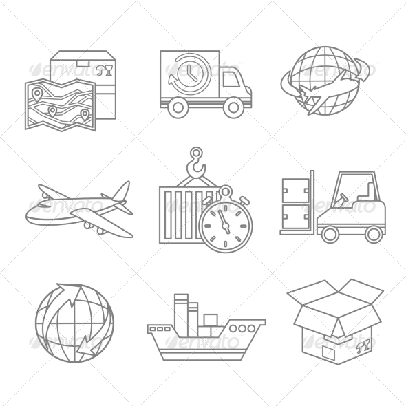 GraphicRiver Logistic Icons Outline 7640136
