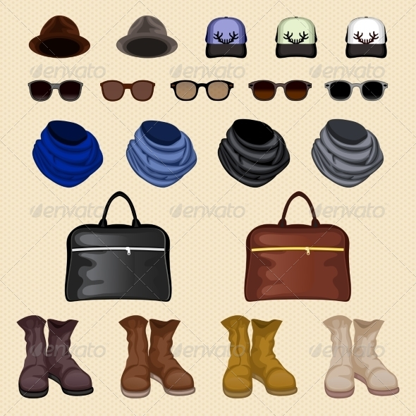 GraphicRiver Hipster Accessories Man 7640148