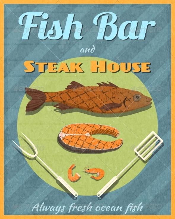 GraphicRiver Fish Bar Retro Poster 7640168
