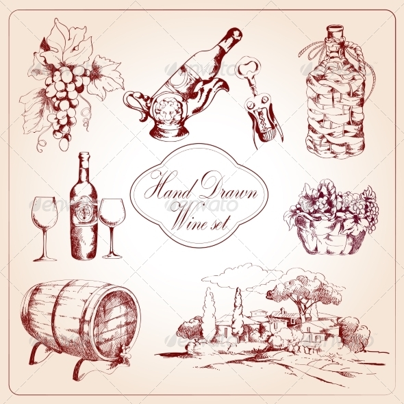 GraphicRiver Wine Decorative Icons Set 7640177
