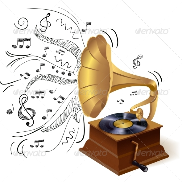 GraphicRiver Music Doodle Gramophone 7640182