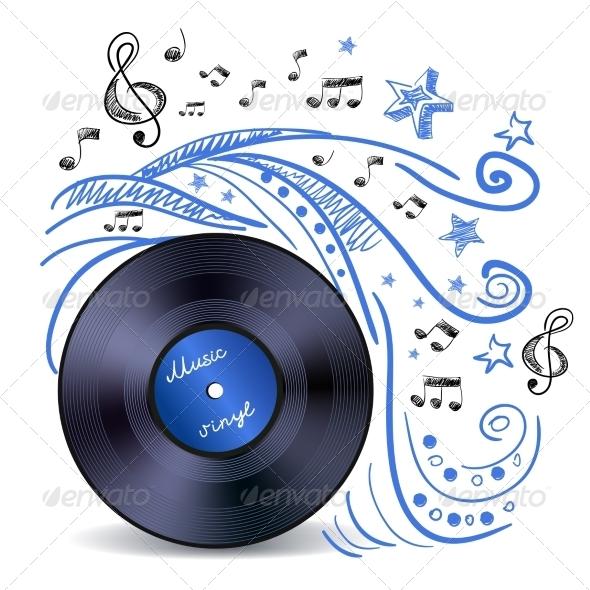 GraphicRiver Music Doodle Vinyl 7640187