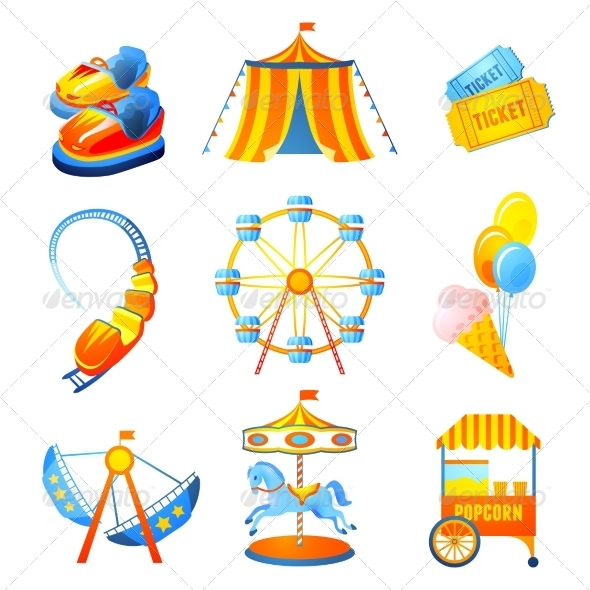 GraphicRiver Amusement Park Icons Set 7640190
