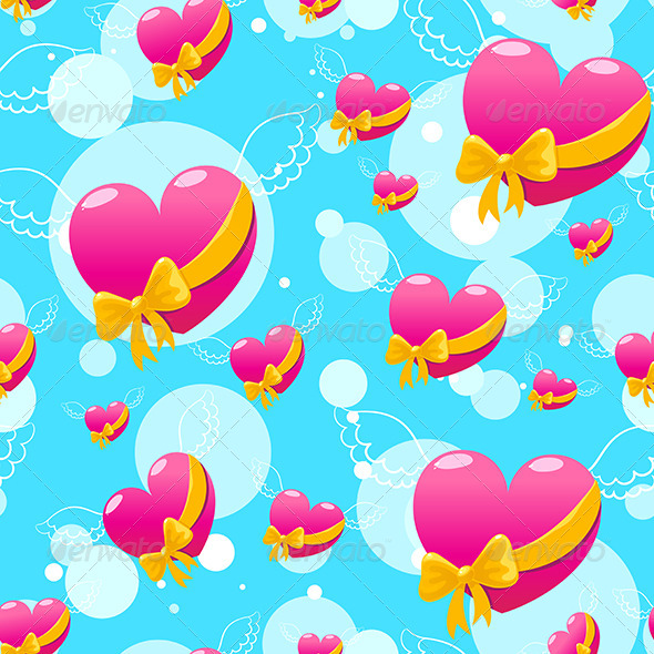 GraphicRiver Flying Pink Hearts 7640269