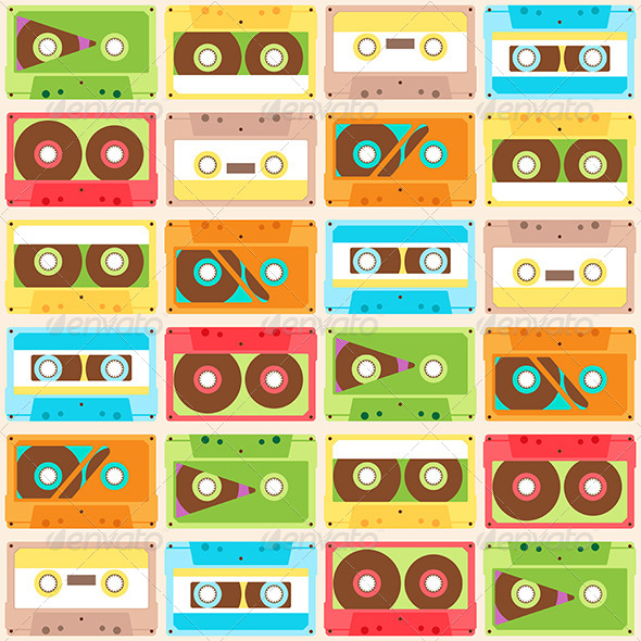 GraphicRiver Seamless Pattern with Cassettes 7640302