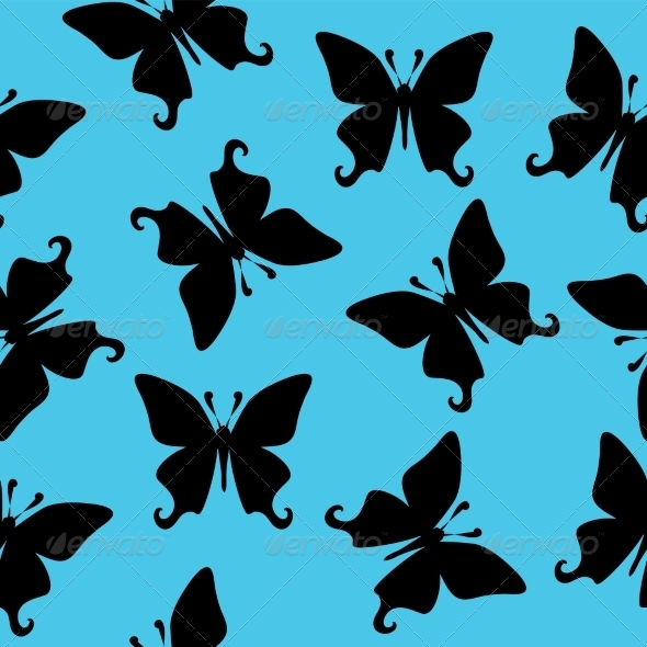 GraphicRiver Black Butterfly Vector Seamless Texture 7640310