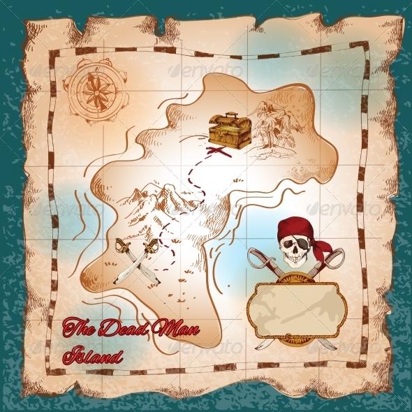 GraphicRiver Pirates treasure map 7640881