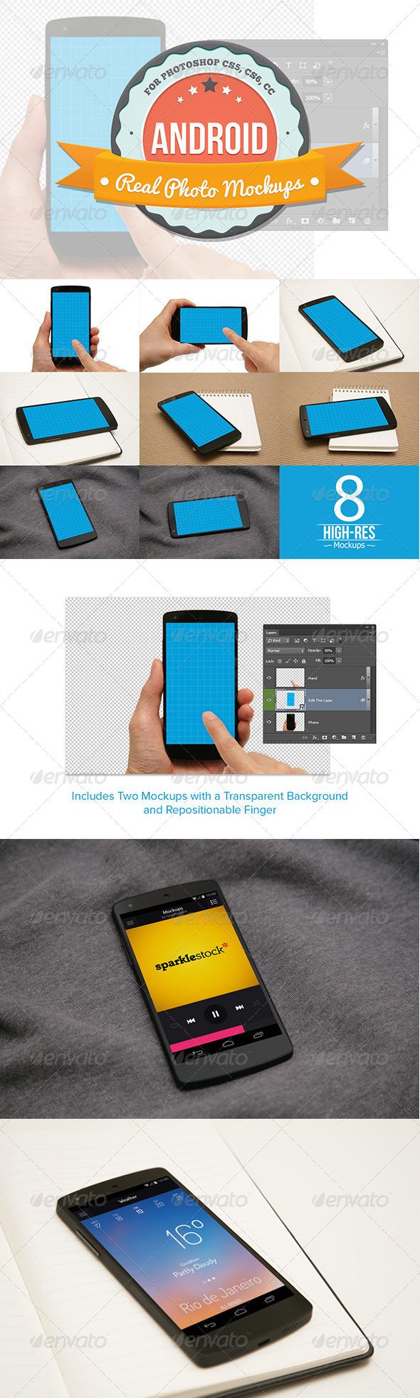 8 Android Mockups - Mobile Displays