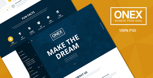 Onex One Page PSD Template