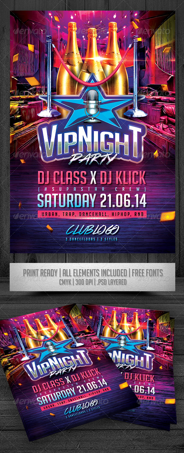 GraphicRiver VIP Night Party Flyer 7640915