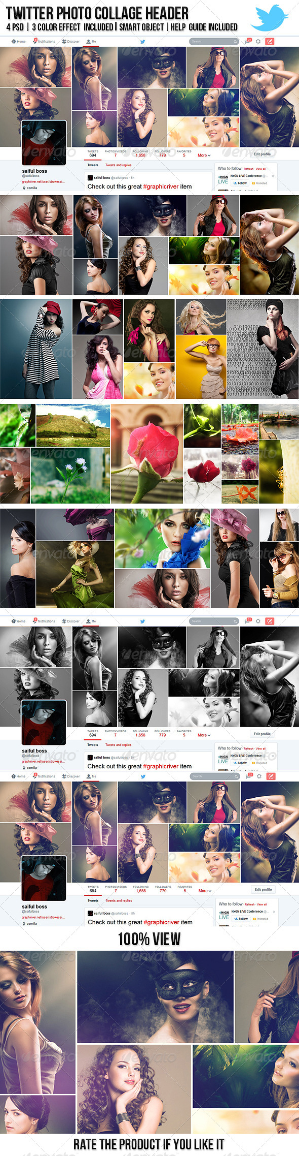 GraphicRiver Twitter Photo Collage Header 7641544