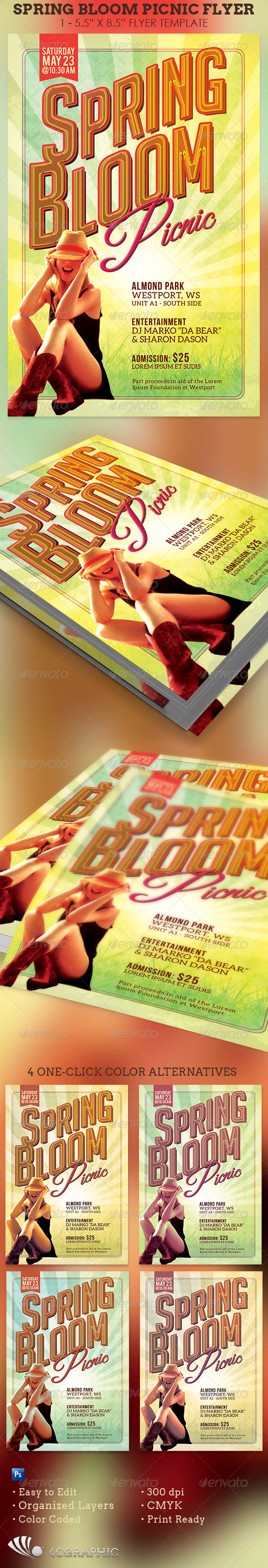 Spring Bloom Picnic Flyer Template - Events Flyers