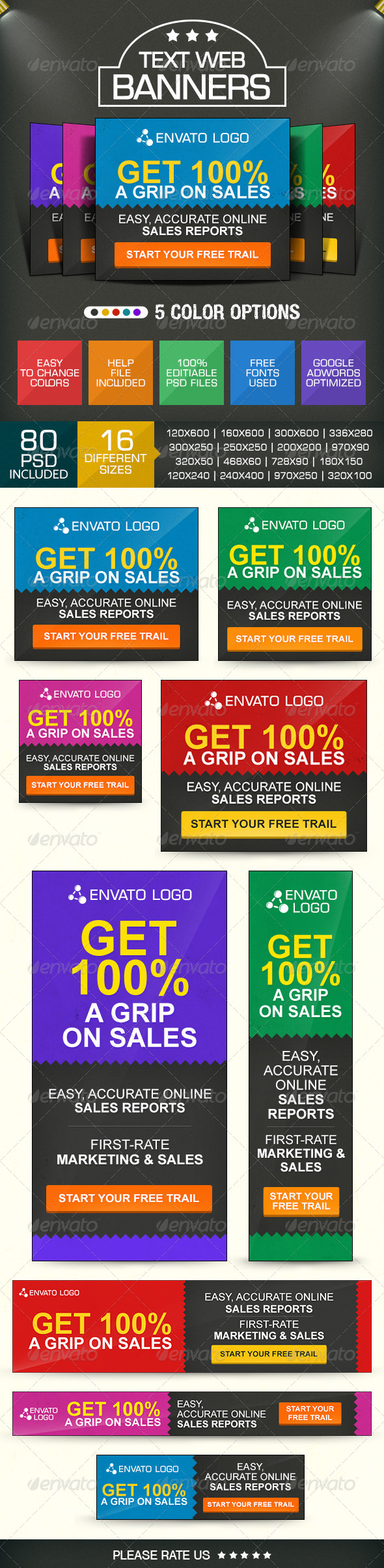 GraphicRiver Text Based Minimal style Banner Set 7641640