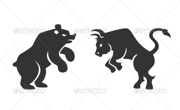 Vector bull and bear financial icons - Stock Photo - Images