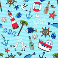 Nautical seamless pattern in retro style - PhotoDune Item for Sale