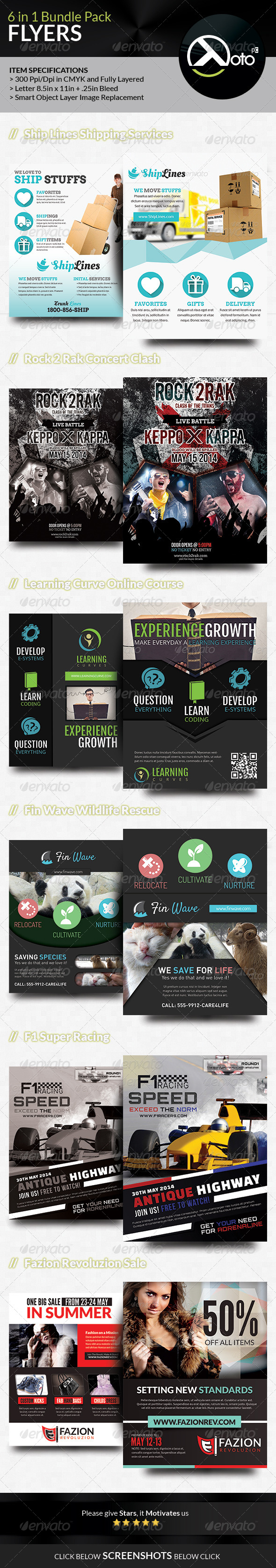 GraphicRiver 6 in 1 Mix Flyer Bundle 7641821