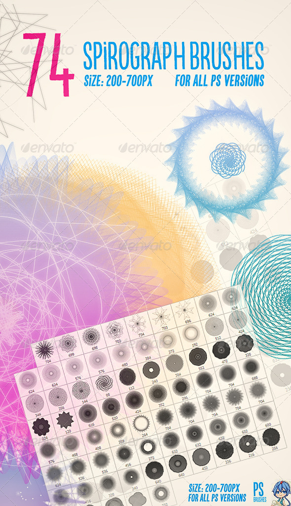 GraphicRiver 74 Spirograph Brushes 7642165