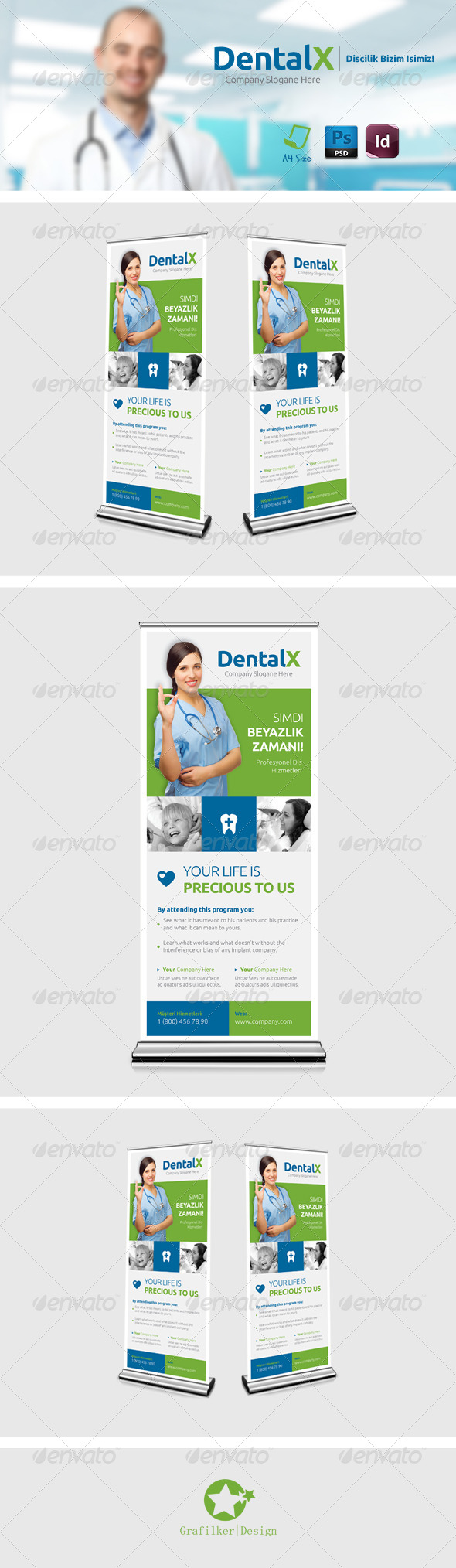 GraphicRiver Dentist Roll-Up Templates 7642614