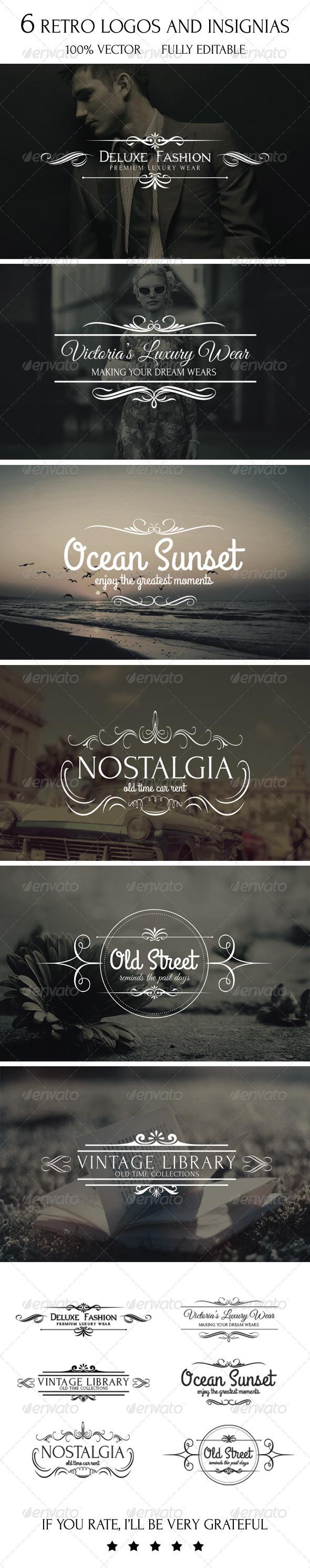 GraphicRiver 6 Retro Logos and Insignias 7642689