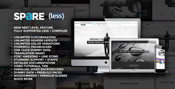 ThemeForest Spare Ultimate MultiPurpose LESS Theme 7520253