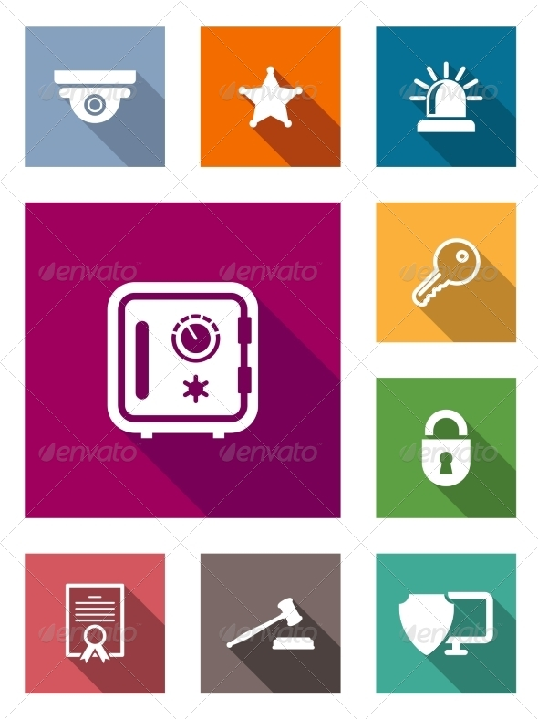 GraphicRiver Flat Safety and Security Icons 7644002