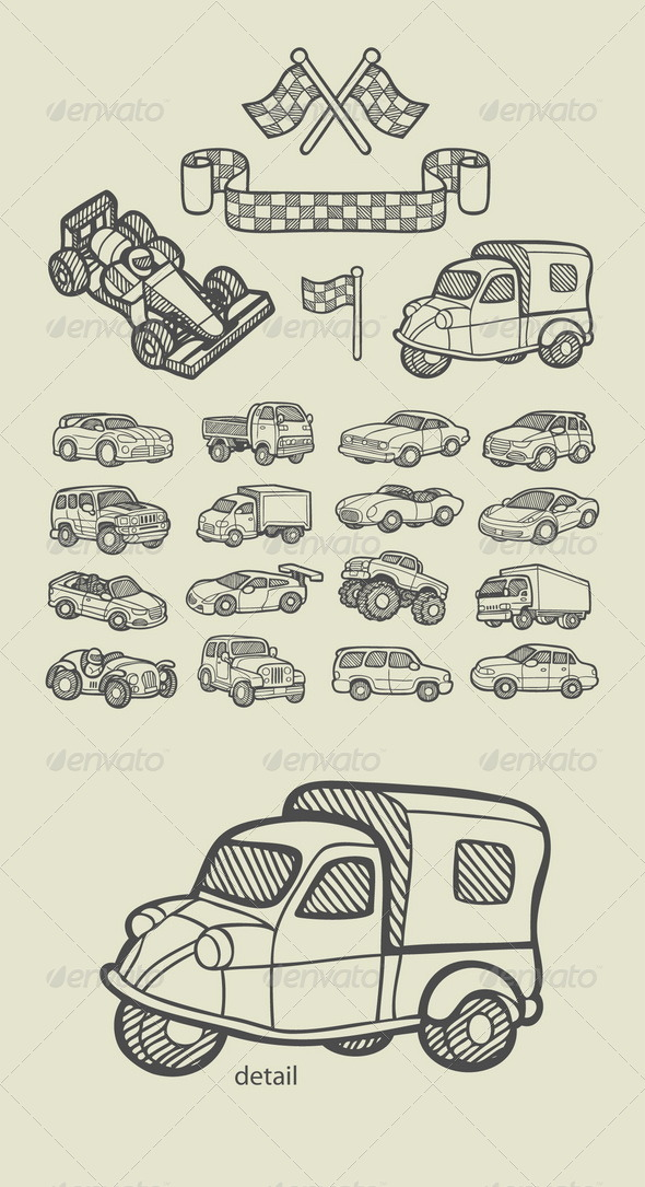 GraphicRiver Car Icons Sketch 7644282