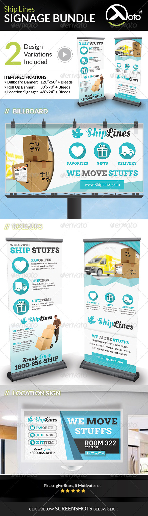 GraphicRiver Ship Lines Shipping Service Signage Bundle 7641636