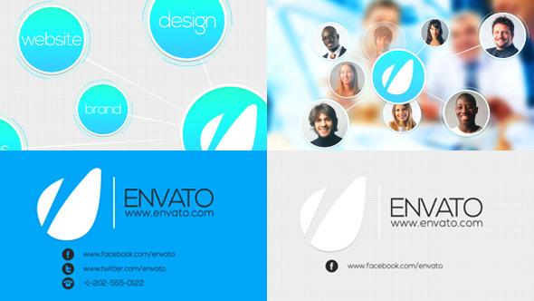 AE模板:简洁现代公司企业宣传片头介绍 社交媒体团队连线效果模版Intro Identity for Company Logo免费下载