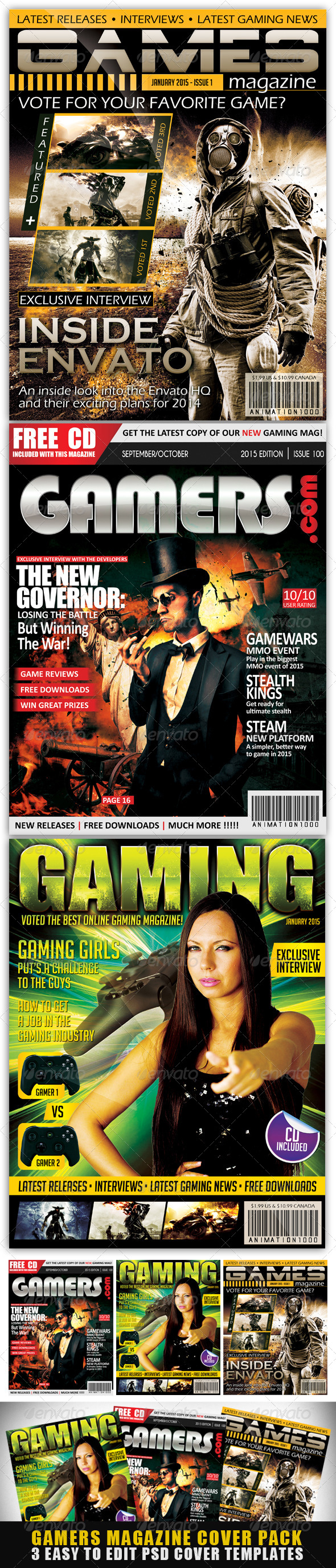 GraphicRiver Gamers Magazine Cover Templates 7626655