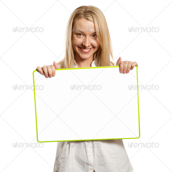 happy businesswoman holding blank white card - Stock Photo - Images