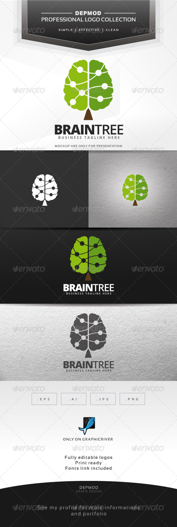 GraphicRiver Brain Tree Logo 7645863