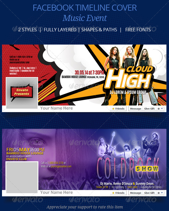 GraphicRiver Music Event FB Timeline Cover 7646008