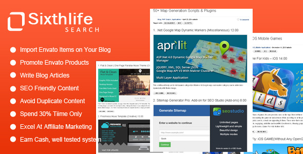 CodeCanyon Sixthlife Search for Envato Affiliates 7614796