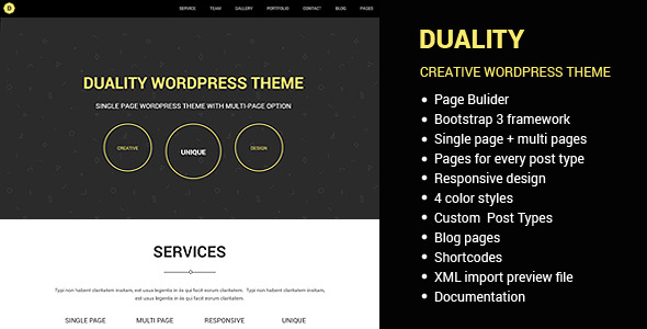 Duality - Multipage Singlepage WordPress Theme