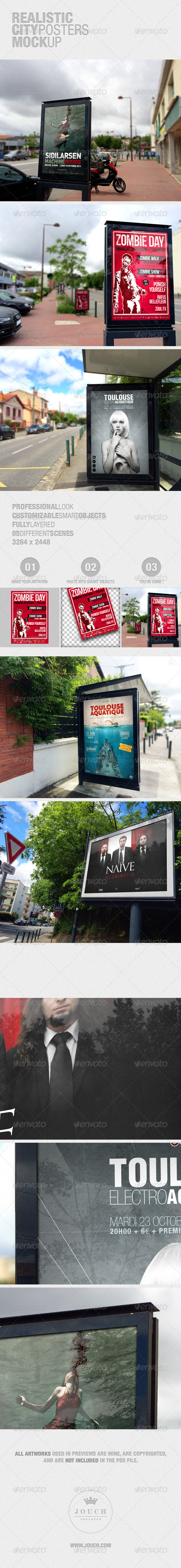 GraphicRiver Realistic City Posters Mockup 7646818