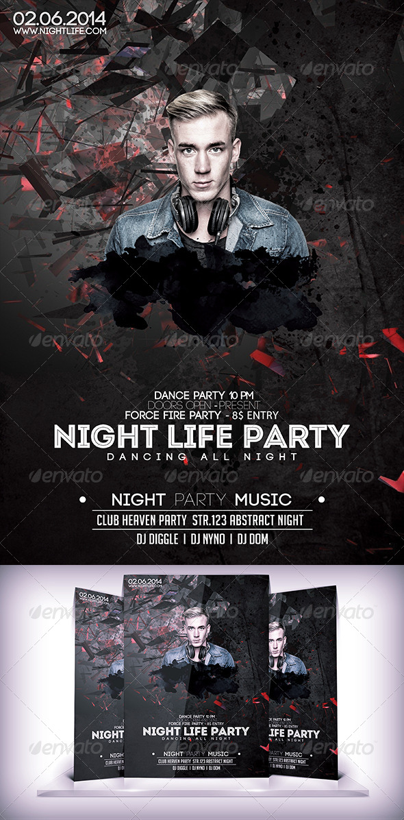 GraphicRiver Night Life Party Flyer 7647135