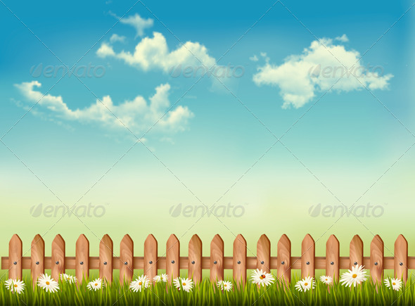 GraphicRiver Background with a Fence and Grass 7647935