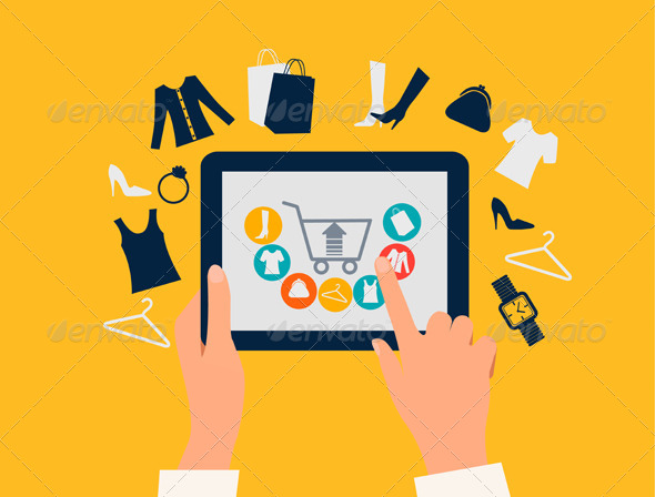 GraphicRiver E-Shopping Concept Hands Touching a Tablet 7647936